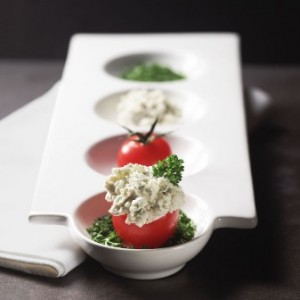 Lemon Bleu Stuffed Tomato perfect for holiday hors d'oeuvres tray