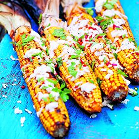 Grilled Mexican Corn with Mozzarella and Cilantro 282