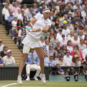 Petra Kvitova (CZE) at Ladies' Singles final, 2014 Wimbledon. Credit: AELTC/Florian Eisele.