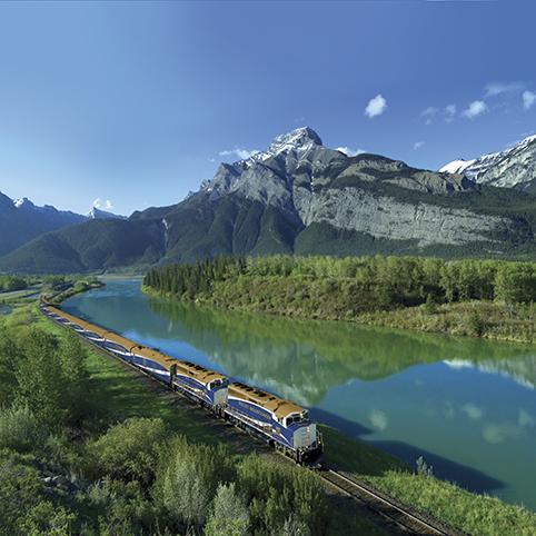 Rocky Mountaineer train near Exshaw in Kananaskis Country, Alberta, Canada. Photo: Brand Canada