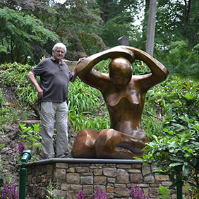 Mark Yale Harris with his sculpture, Awakening III