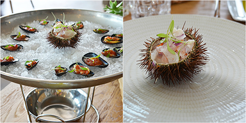 SEAFOOD STARTERS TO BE FOUND AT LA MARITIMA, MUSSELS AND SEA URCHIN