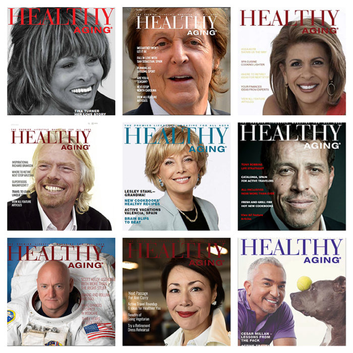 montage of healthy aging magazine covers